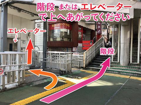 階段 または エレベーターで上へあがってください